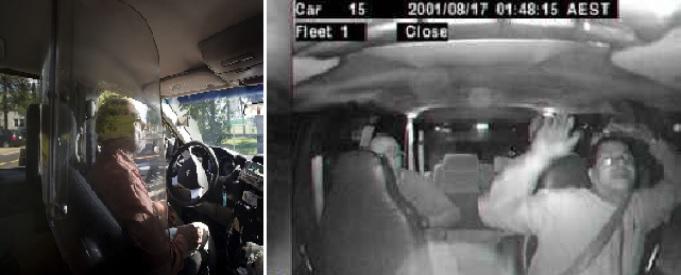 Пуленепробиваемая прозрачная перегородка в такси, видеокамера